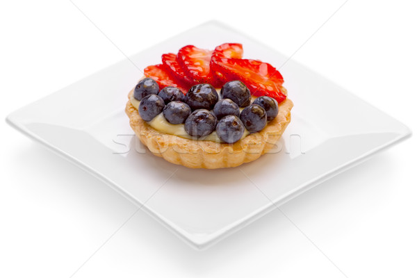Foto stock: Frutas · tarta · natillas · blanco · placa