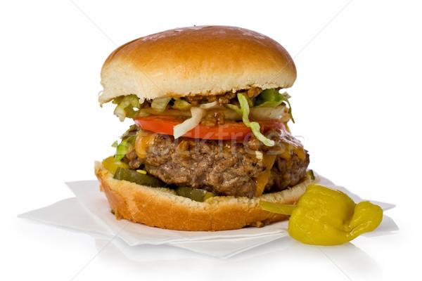 Chili burger fatto in casa cheddar formaggio bianco Foto d'archivio © raptorcaptor