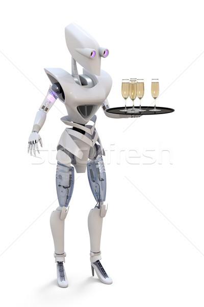 Robot cameriera rendering 3d occhiali champagne Foto d'archivio © raptorcaptor