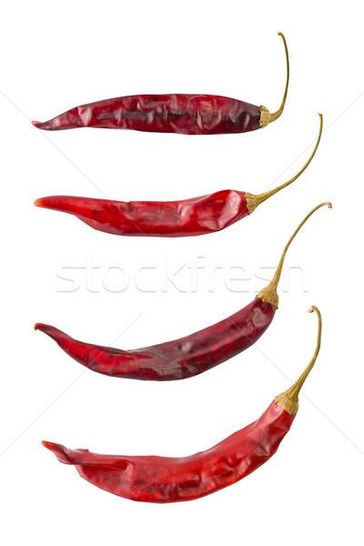 Vier gedroogd Chili paprika witte Stockfoto © raptorcaptor