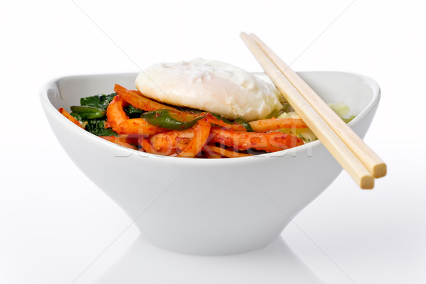 Stok fotoğraf: Yemek · pirinç · sebze · çili · yumurta