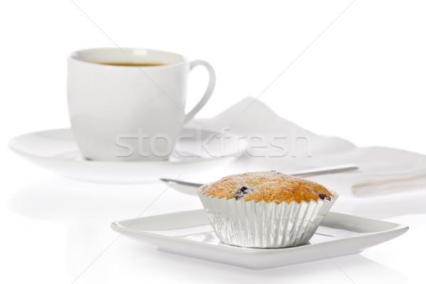 çörek fincan kahve beyaz Stok fotoğraf © raptorcaptor