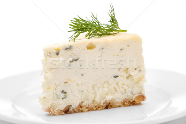 Sarriette cheesecake tranche fromage bleu blanche plaque Photo stock © raptorcaptor