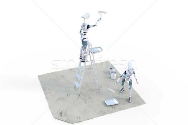 Stok fotoğraf: Robotlar · boyama · iki · boya · bir · ayakta