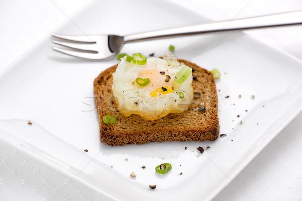 Photo stock: Frit · oeuf · mini · seigle · Toast