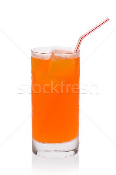 Oranje soda glas ijs stro witte Stockfoto © raptorcaptor