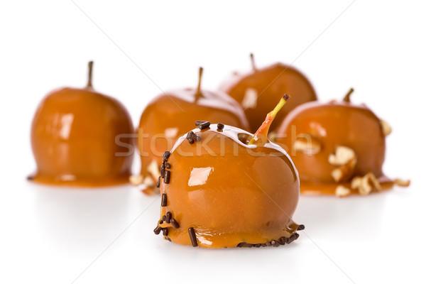 Mini karamell almák néhány fehér csokoládé Stock fotó © raptorcaptor