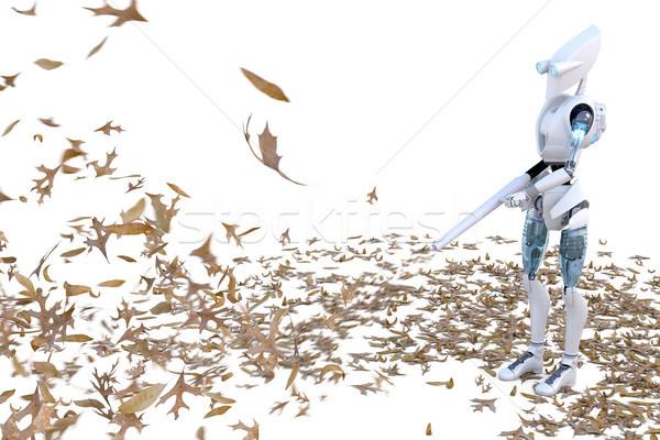 Robot levél fúvó köteg levelek modell Stock fotó © raptorcaptor