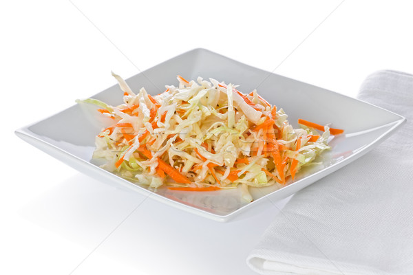 Photo stock: Salade · de · chou · simple · blanche · plaque · serviette · alimentaire