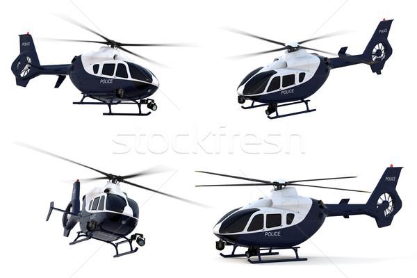 Police hélicoptère rendu 3d blanche modèle droit Photo stock © raptorcaptor