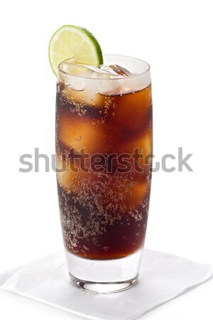 Verre Cola froid tranche chaux Photo stock © raptorcaptor