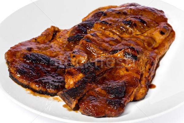 Barbeque carne di maiale bistecca due fette bianco Foto d'archivio © raptorcaptor