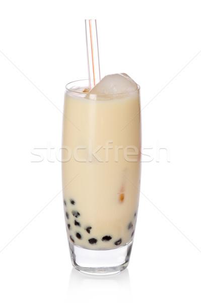 банан чай стекла Sweet молоко жемчуга Сток-фото © raptorcaptor