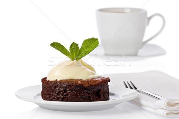 Foto stock: Torta · blanco · crema · menta · hojas · taza