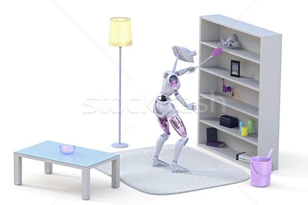 Stockfoto: Robot · schoonmaken · spin · roze · huishoudelijk · werk · witte