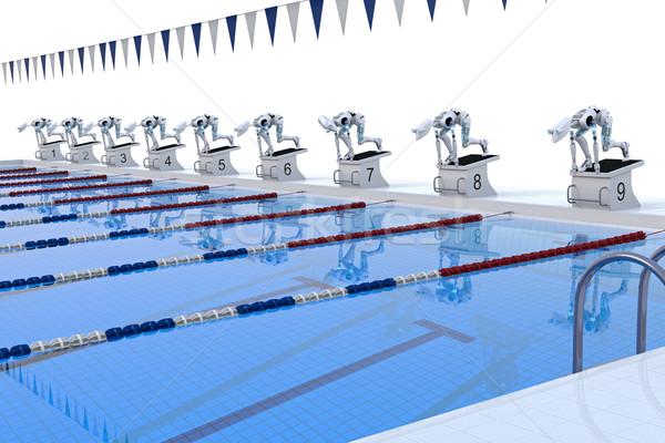 Stockfoto: Robot · zwemmen · concurrentie · verscheidene · robots · race