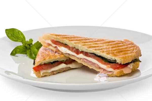 Panini sandwich prosciutto mozzarella formaggio basilico Foto d'archivio © raptorcaptor
