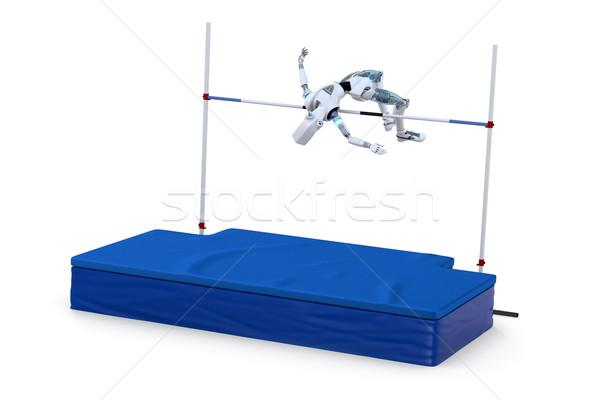 Robot hoogspringen witte toekomst Stockfoto © raptorcaptor