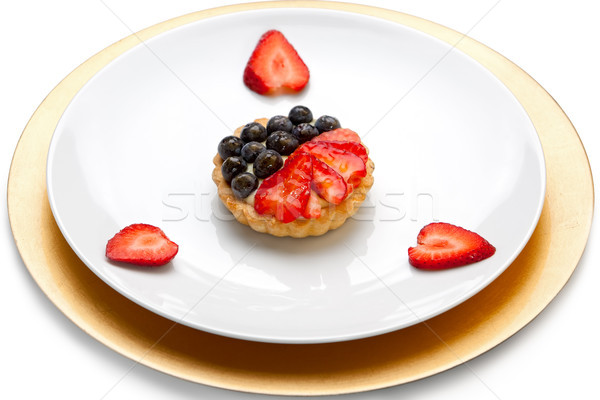 Frutta crostata crema pasticcera fragole mirtilli bianco Foto d'archivio © raptorcaptor