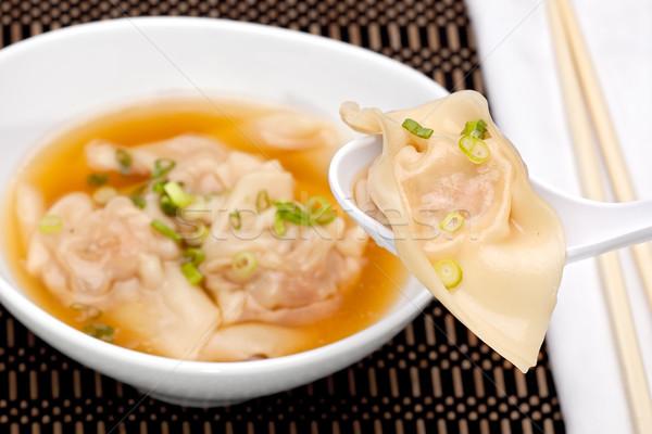 Zuppa ciotola cucchiaio pasta cinese Asia Foto d'archivio © raptorcaptor