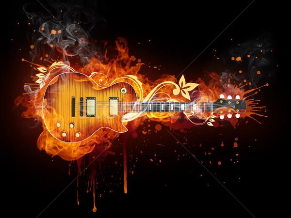 Elektromos gitár tűz izolált fekete számítógépes grafika zene Stock fotó © RAStudio