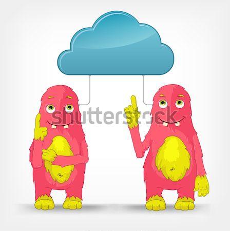 Stock foto: Funny · Monster · Idee · Zeichentrickfigur · isoliert · grau