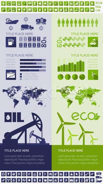 Olie-industrie sjabloon gelegenheid land wereldkaart Stockfoto © RAStudio