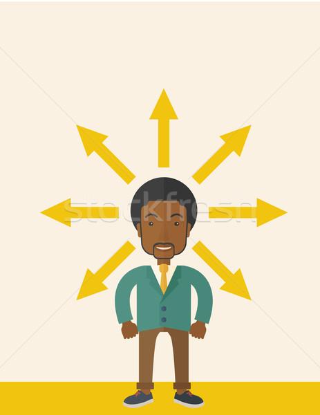 Zwarte vent veel pijl zakenman verward Stockfoto © RAStudio