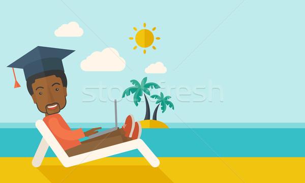 Man with laptop on the beach  Stock photo © RAStudio