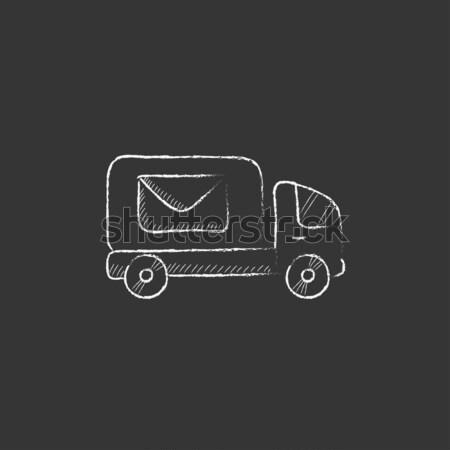 Excavator truck icon drawn in chalk. Stock photo © RAStudio