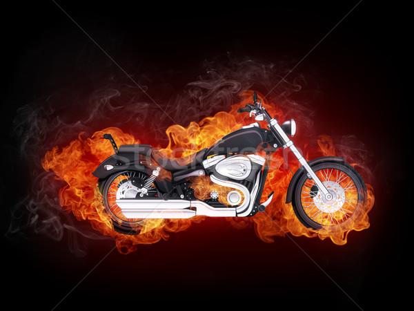 オートバイ 火災 孤立した 黒 コンピューターグラフィックス スポーツ ストックフォト © RAStudio