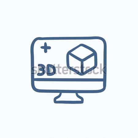Компьютерный монитор 3D окна линия икона веб Сток-фото © RAStudio