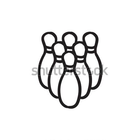 Bowling pins line icon. Stock photo © RAStudio