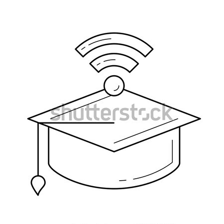 Abschluss cap wifi Zeichen line Symbol Stock foto © RAStudio