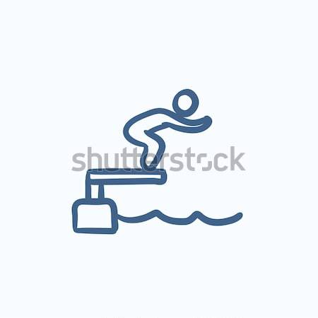 пловец прыжки бассейна линия икона веб Сток-фото © RAStudio