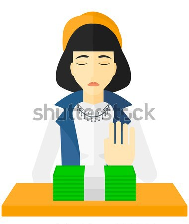 Woman refusing bribe. Stock photo © RAStudio