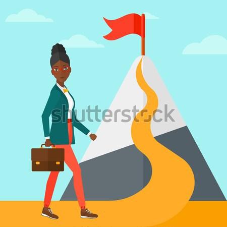 Alegre líder mujer maleta mano pie Foto stock © RAStudio