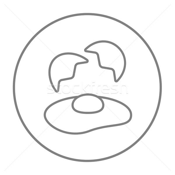 сломанной яйцо снарядов линия икона веб Сток-фото © RAStudio