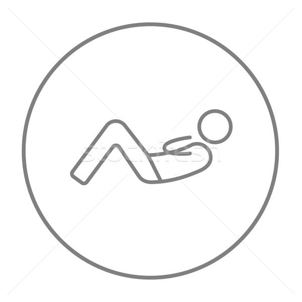 Uomo addominale line icona web mobile Foto d'archivio © RAStudio