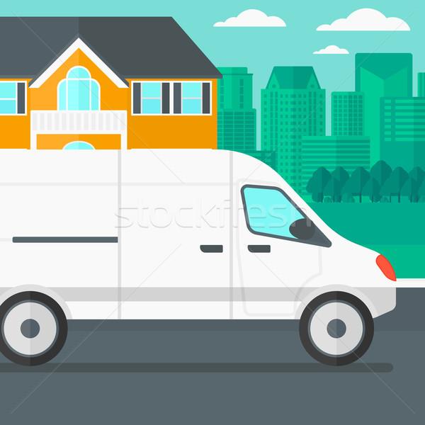 Ville camion de livraison vecteur design illustration carré Photo stock © RAStudio