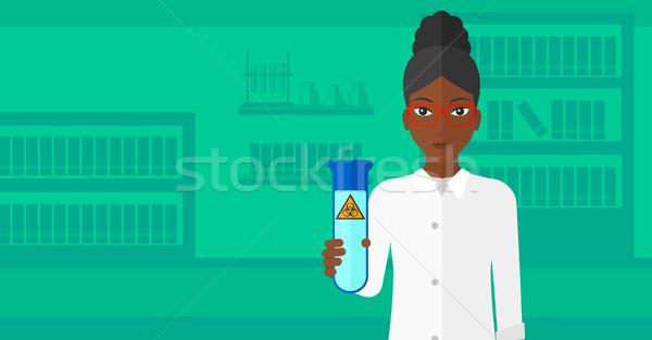 лаборатория помощник пробирку знак Сток-фото © RAStudio