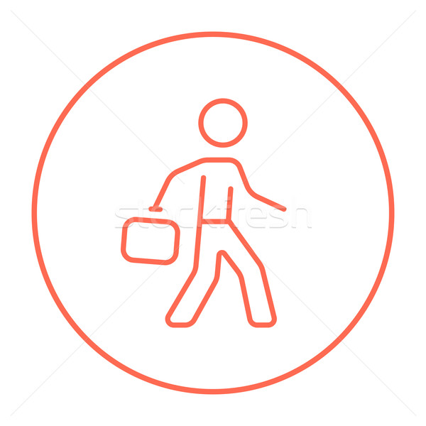 бизнесмен ходьбе портфель линия икона веб Сток-фото © RAStudio