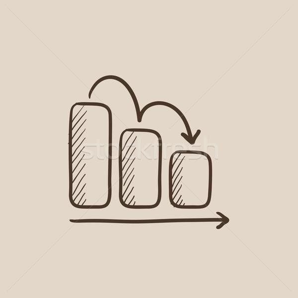 Graphique à barres vers le bas croquis icône web mobiles Photo stock © RAStudio