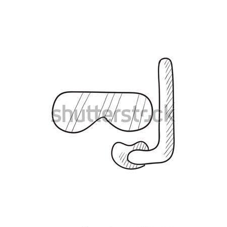 Maszk búvárpipa rajz ikon háló mobil Stock fotó © RAStudio