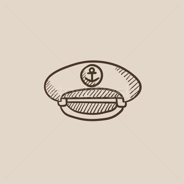 Captain peaked cap sketch icon. Stock photo © RAStudio