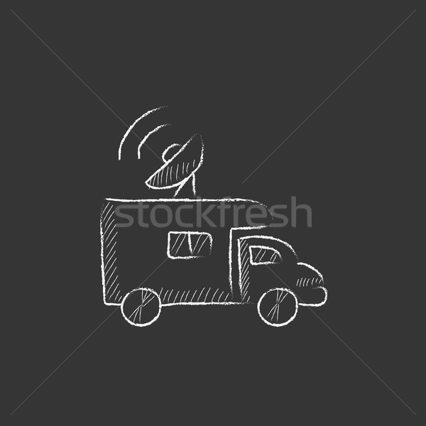 Broadcasting van. Drawn in chalk icon. Stock photo © RAStudio