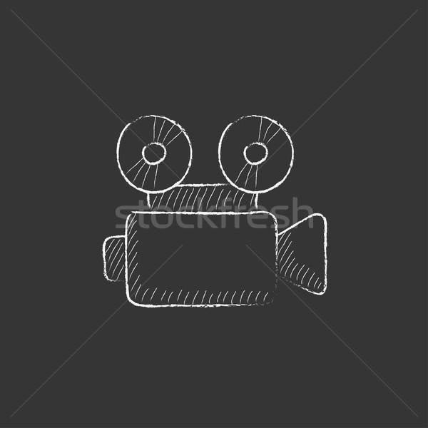 Video camera. Drawn in chalk icon. Stock photo © RAStudio