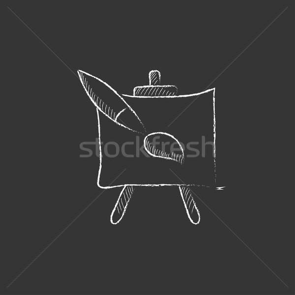 Caballete pincel tiza icono dibujado a mano Foto stock © RAStudio