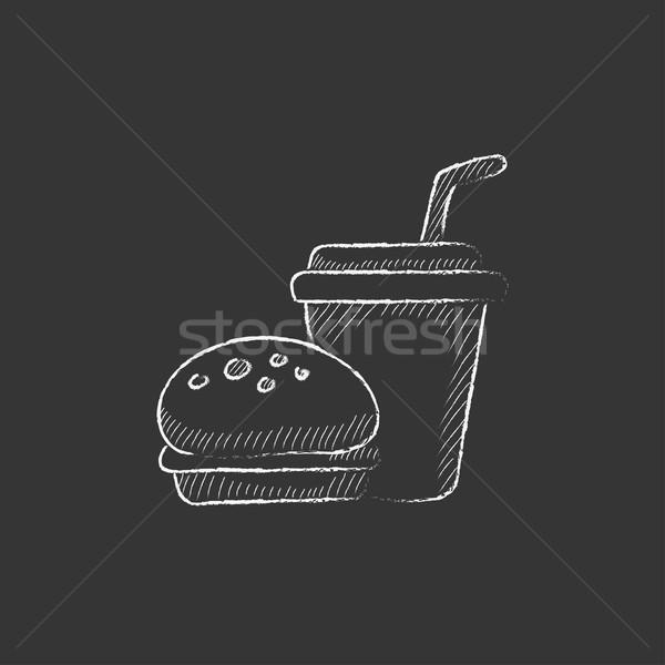 Fast food meal. Drawn in chalk icon. Stock photo © RAStudio