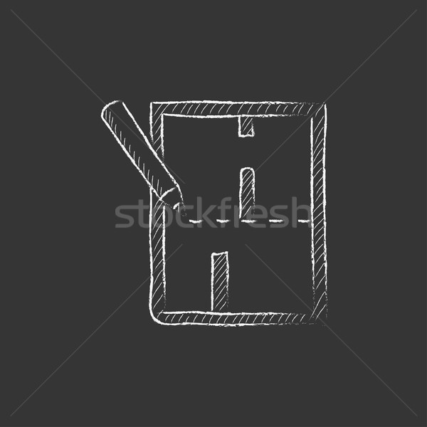 Layout of the house. Drawn in chalk icon. Stock photo © RAStudio